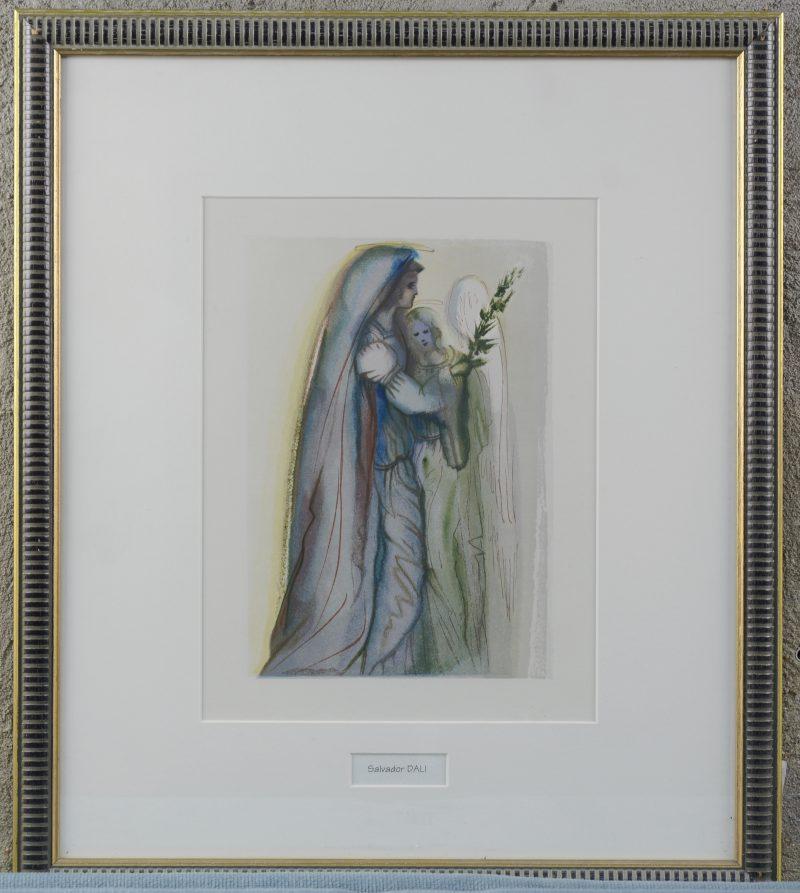 """""""Préparation à la prière finale"""". Een houtgravure in kleur door Salvador Dali uit """"La Divine Comédie"""". Uitgave door b""""Les Heures Claires, Parijs""""."""