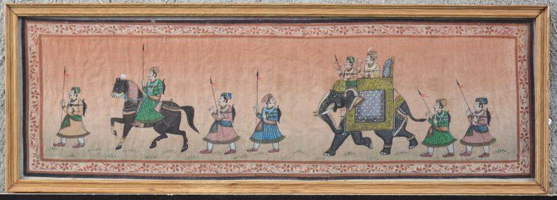 """""""Krijgers"""". Een Indische gouachetekening op zijde."""
