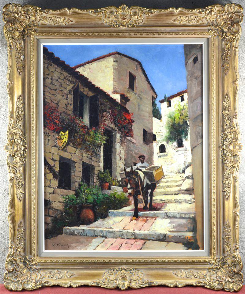 """""""Man met ezel in een Mediterraan straatzicht"""". Olieverf op doek. Gesigneerd."""