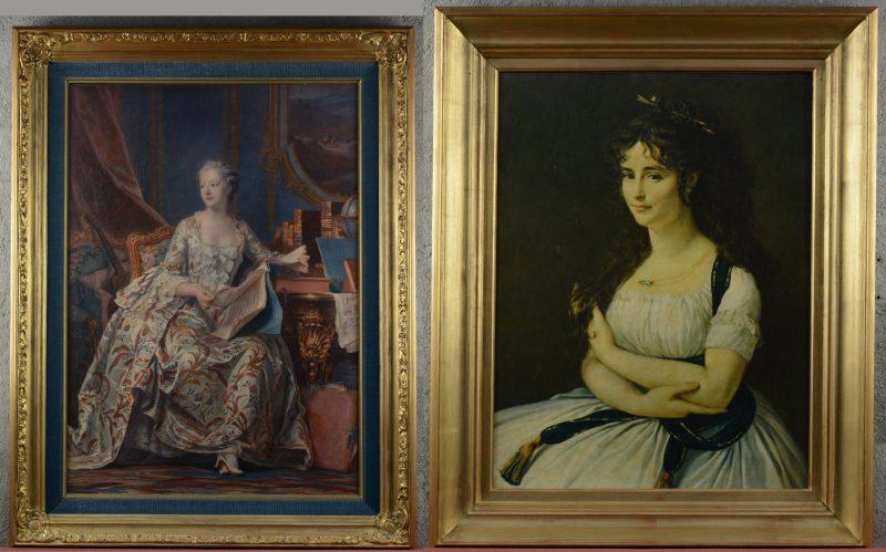 Twee reproducties van vrouwenportretten.
