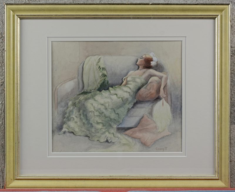 """""""Slapende jonge vrouw in groene jurk"""". Aquarel op papier. Gesigneerd. Engeland, XIXe eeuw."""