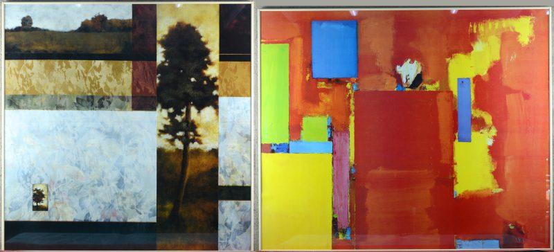 Twee kunstreproducties, uitgegeven door 'Art Multiples Amsterdam'.