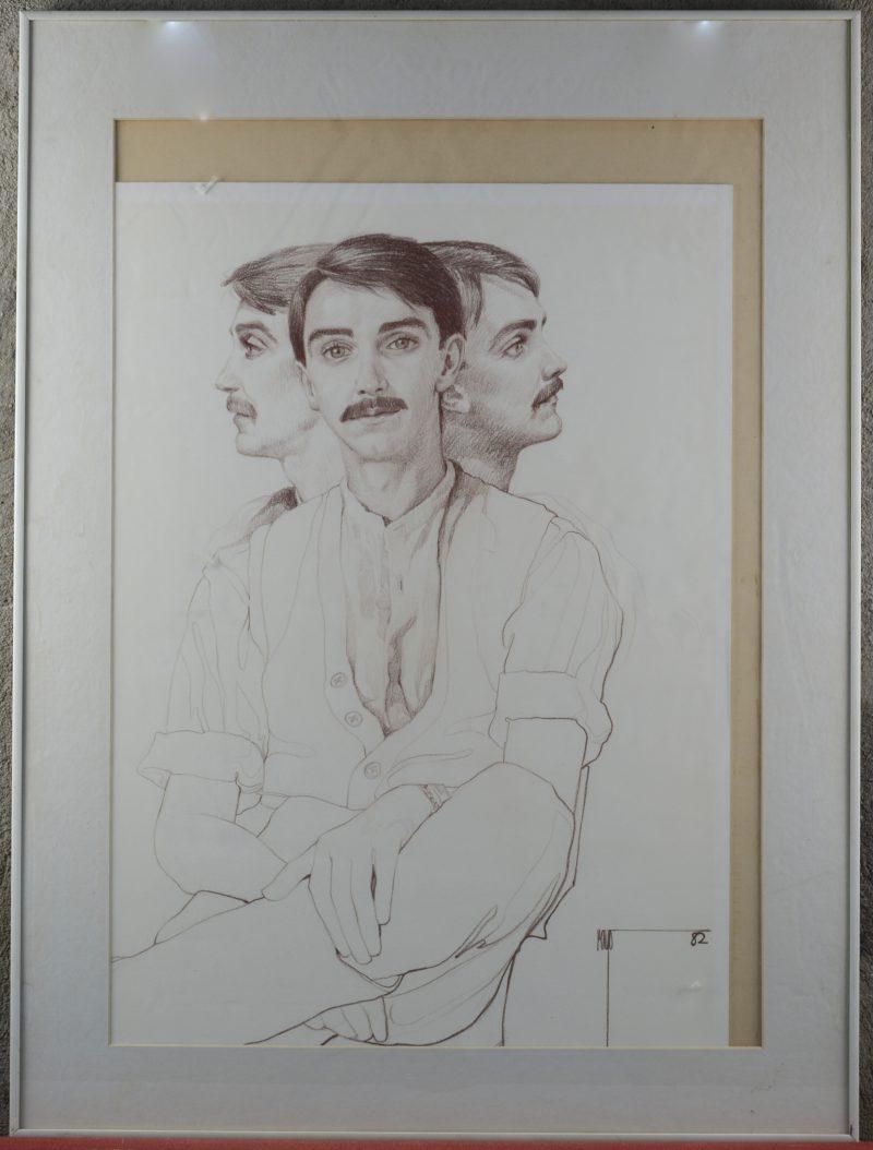 Een portretstudie, potlood op papier. Gesigneerd en gedateerd '82.