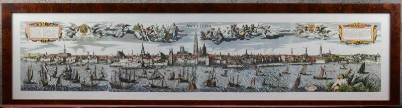Een reproductie van het XVIIe eeuws zicht op de rede van Antwerpen van Vrients.