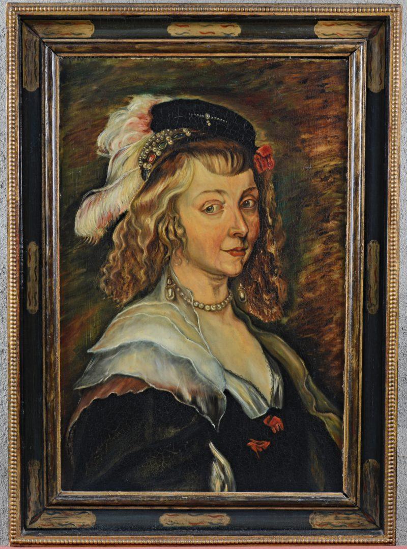 """""""Portret van een burgervrouw"""". Olieverf op paneel. Naar de XVIIe eeuw."""
