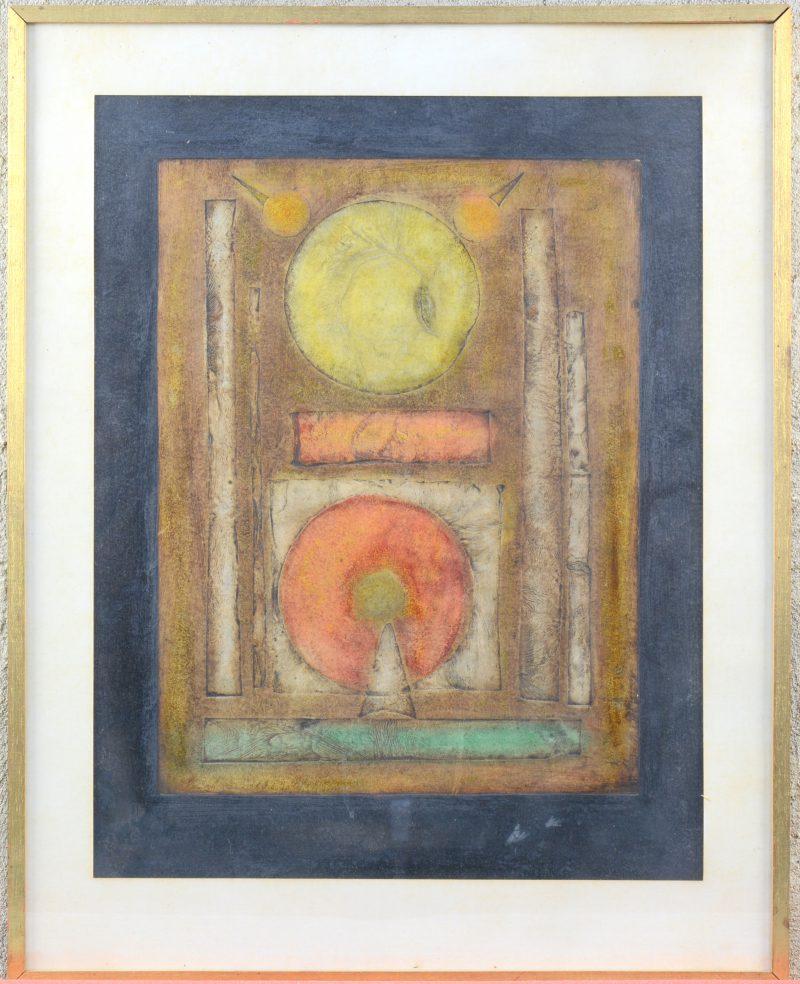 Een met in het papier gedrukte vormen opgebouwde en ingekleurde moderne compositie. Zonder signatuur.