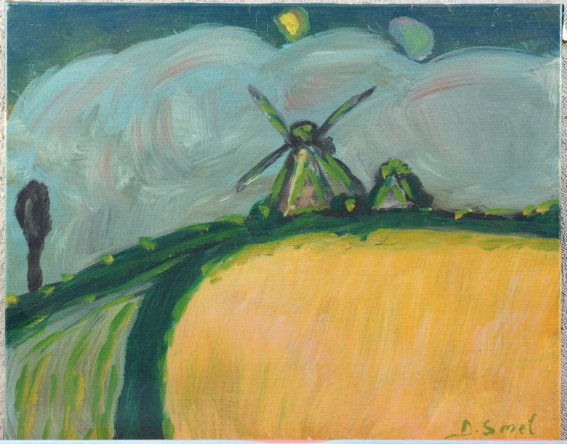 """""""Landschap met molen"""". Acryl op papier. Gesigneerd."""