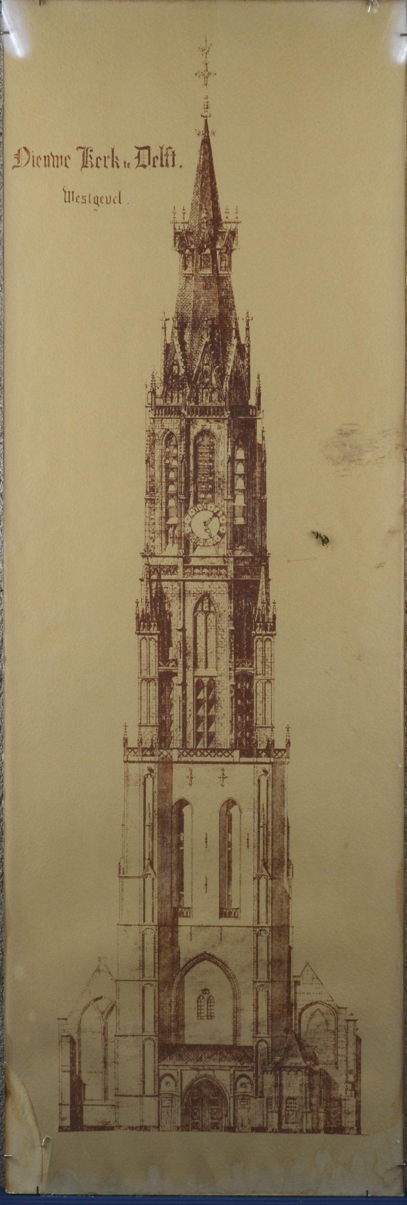 """""""Nieuwe Kerk, Delft, Westgevel"""". Een zeefdruk achter glas. (Hoekje afebroken)"""