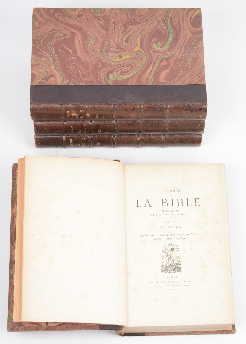 """La Bible"". Franstalige uitgave, deel 6, 7, 8 & 9. Parijs, 1890."