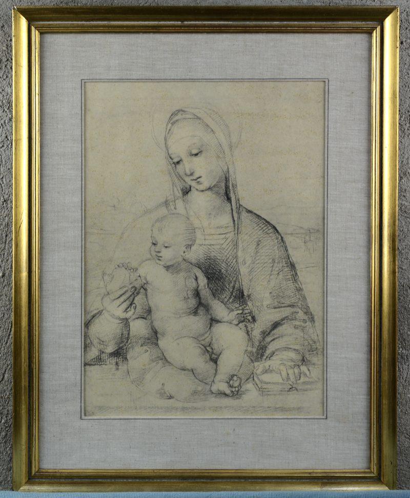 Madonna met kind naar Raphael. Een reproductie.