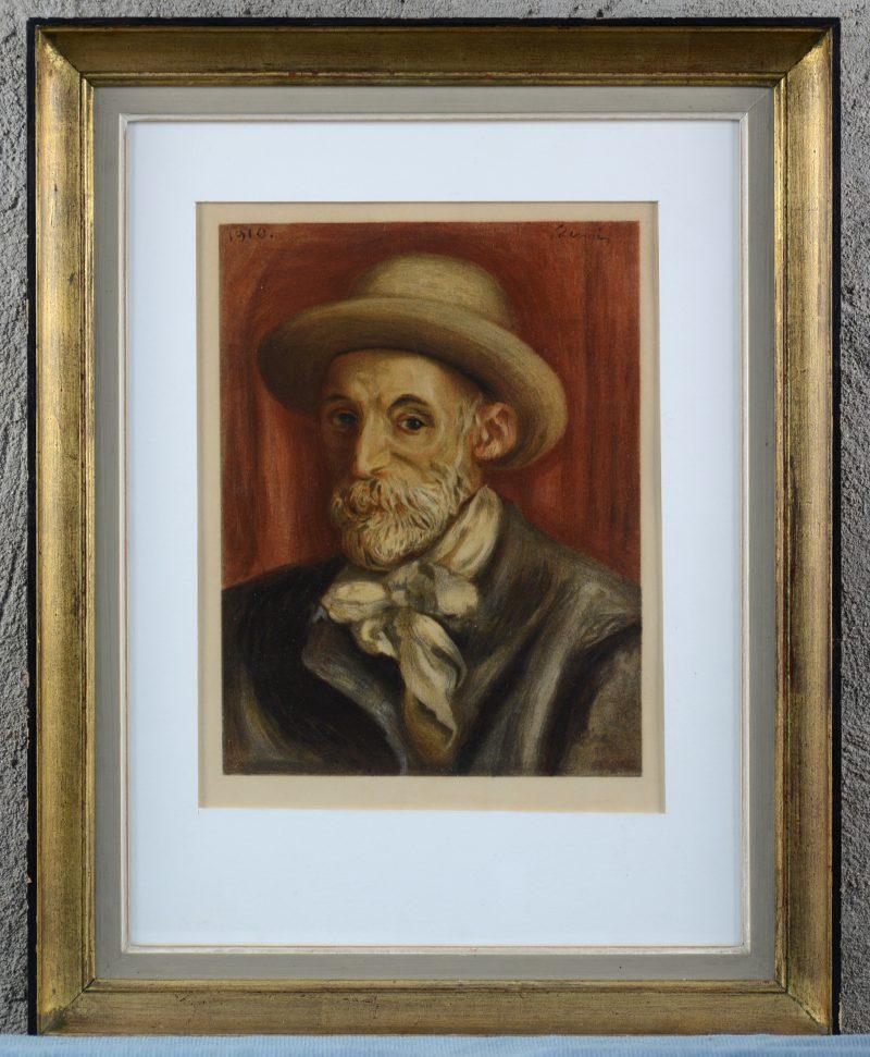 """""""Zelfportret"""". Een lithografie naar het werk van Renoir. Voorblad van een boek over de kunstenaar."""