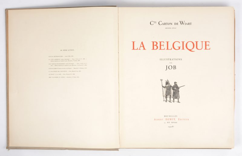 """La Belgique"". Carton de Wiart. Ed. Albert Dewit, Bruxelles. 1928."