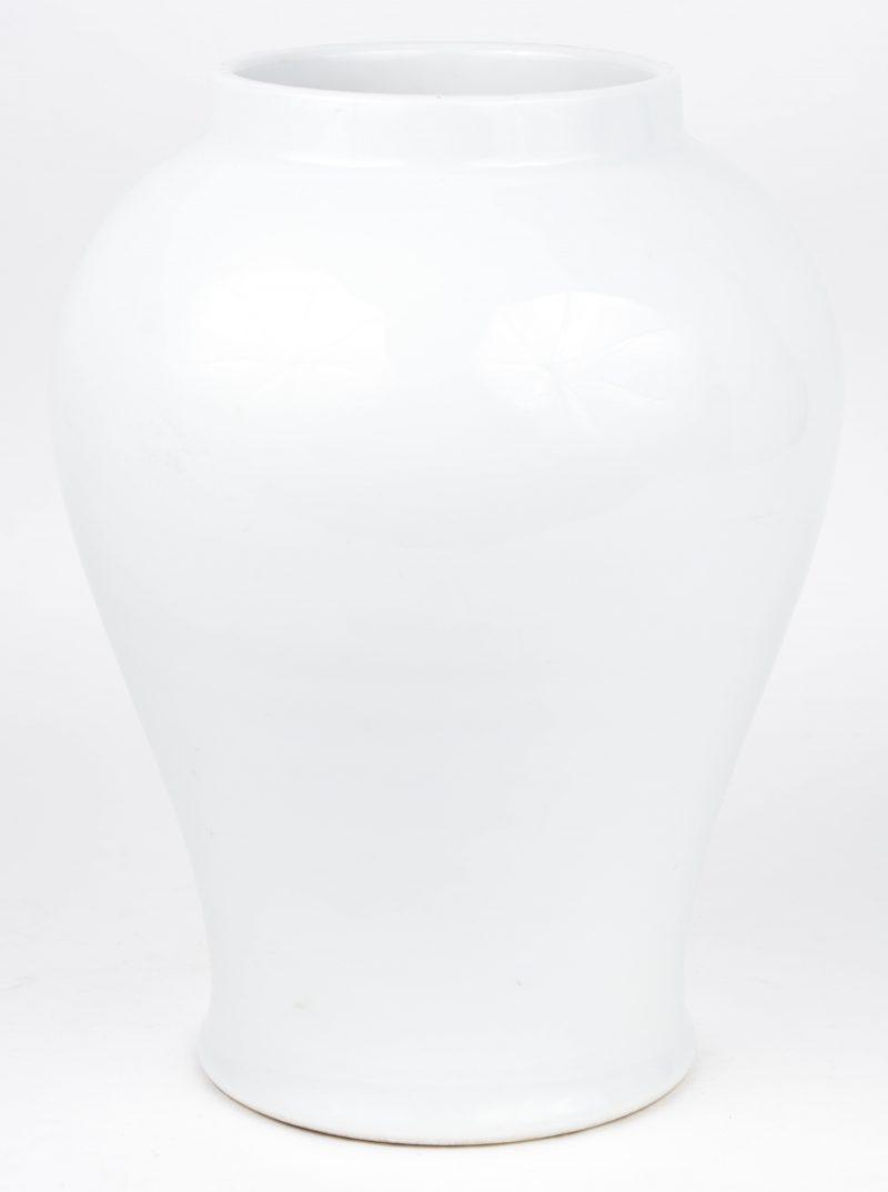 Een Chinese vaas van monochroom wit porselein.
