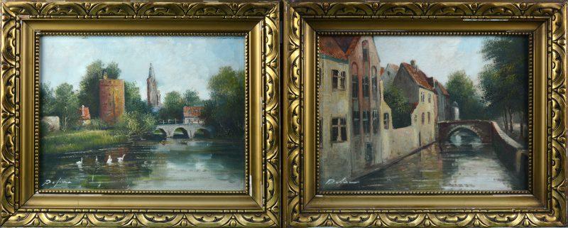 Een paar zichten op Brugge, olieverf op doek. Gesigneerd.
