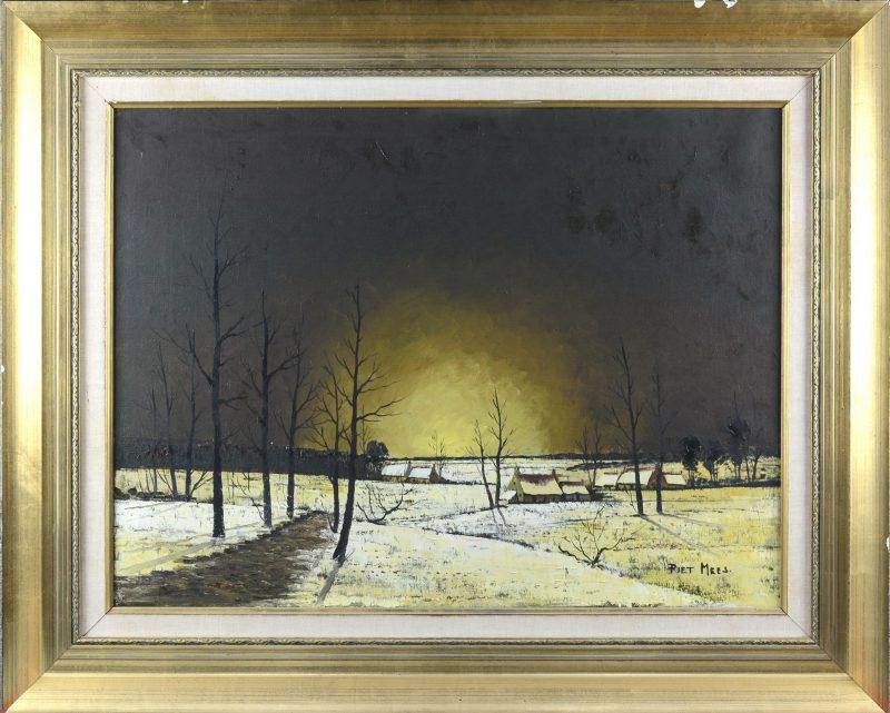 """""""Winters landschap"""". Olieverf op doek. Gesigneerd."""