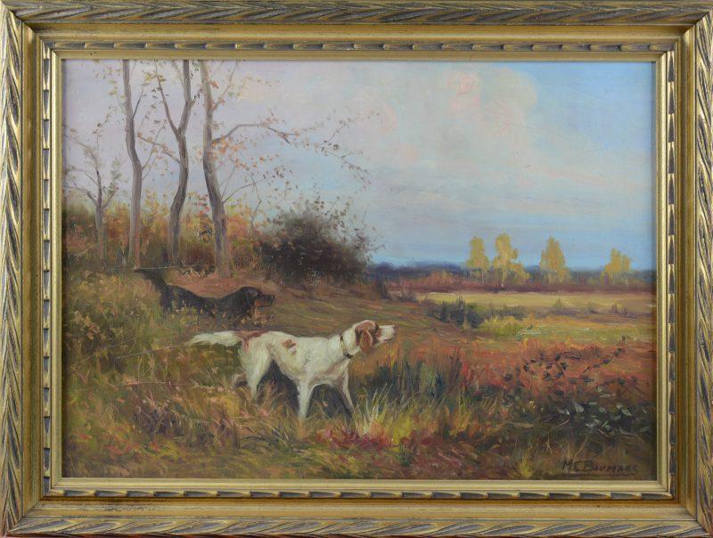 """""""Jachthonden in een landschap"""". Olieverf op doek. Gesigneerd."""