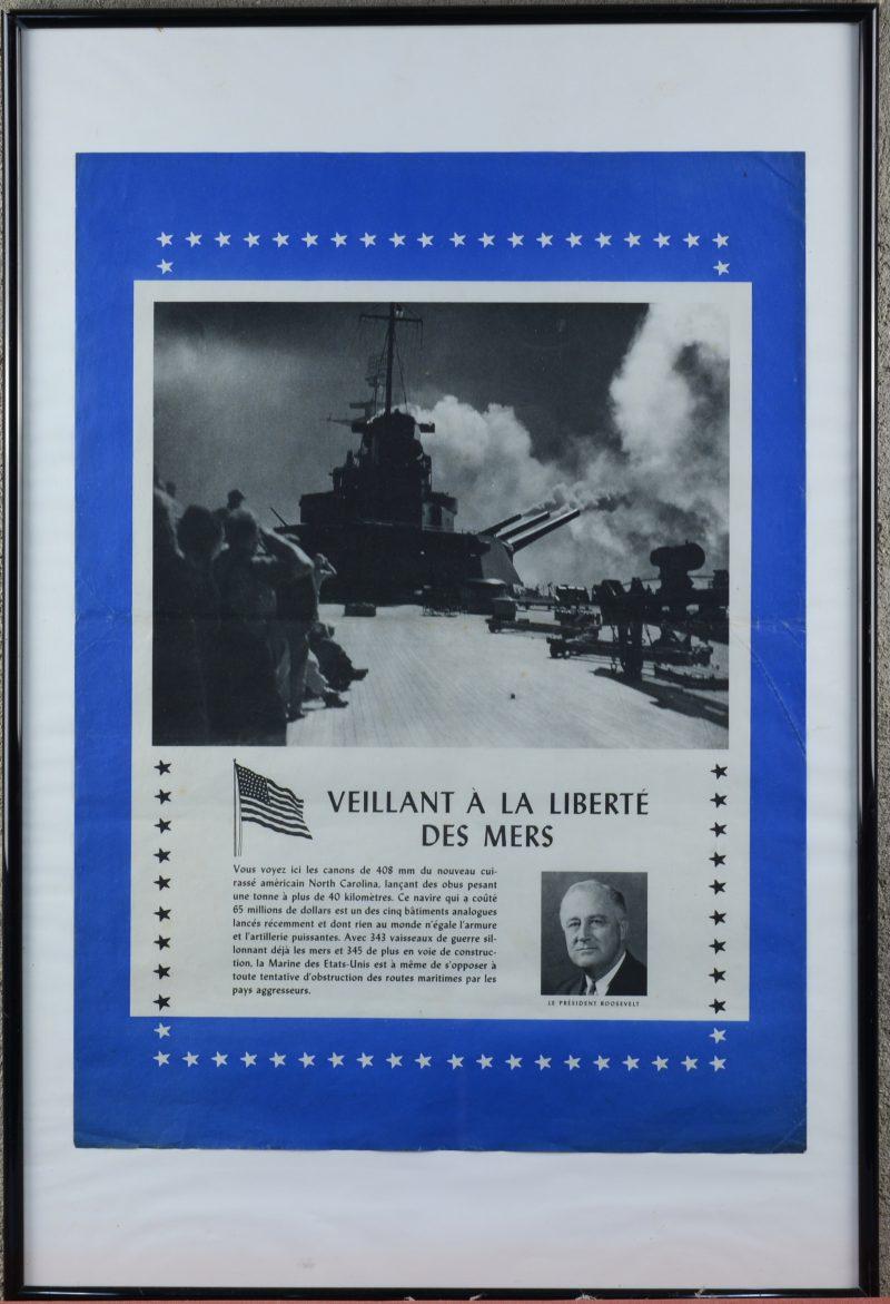 """""""Veillant à la liberté des mers"""". Een originele affiche uit de Tweede Wereldoorlog."""
