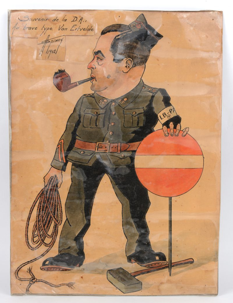"""""""Souvenir de la D.A., Au brave type Van Ertvelde"""". Een spottekening uit 1942."""