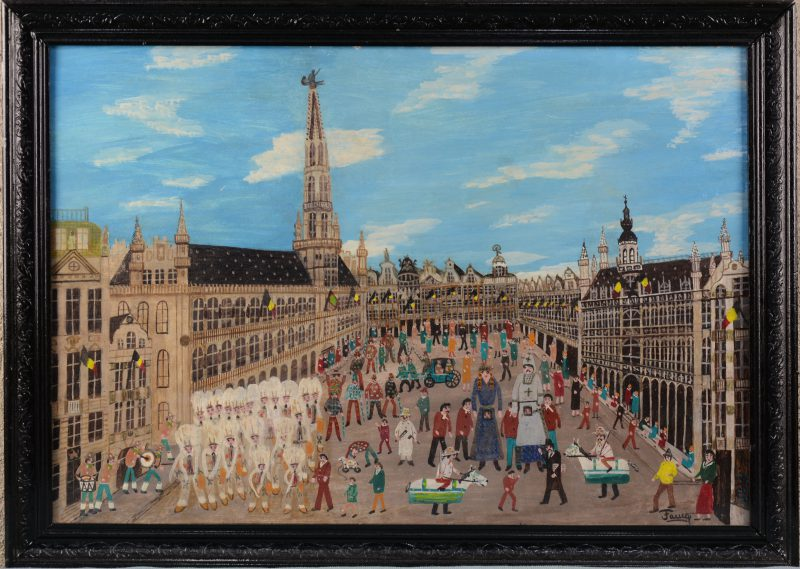 """Grote Markt Brussel"". Olieverf op board. Gesigneerd."