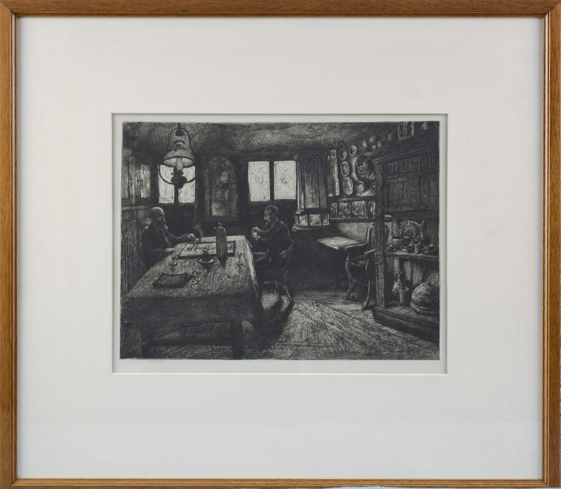 """""""Spelende mannen in een interieur"""". Een zeefdruk naar een werk van Léon Brunin."""