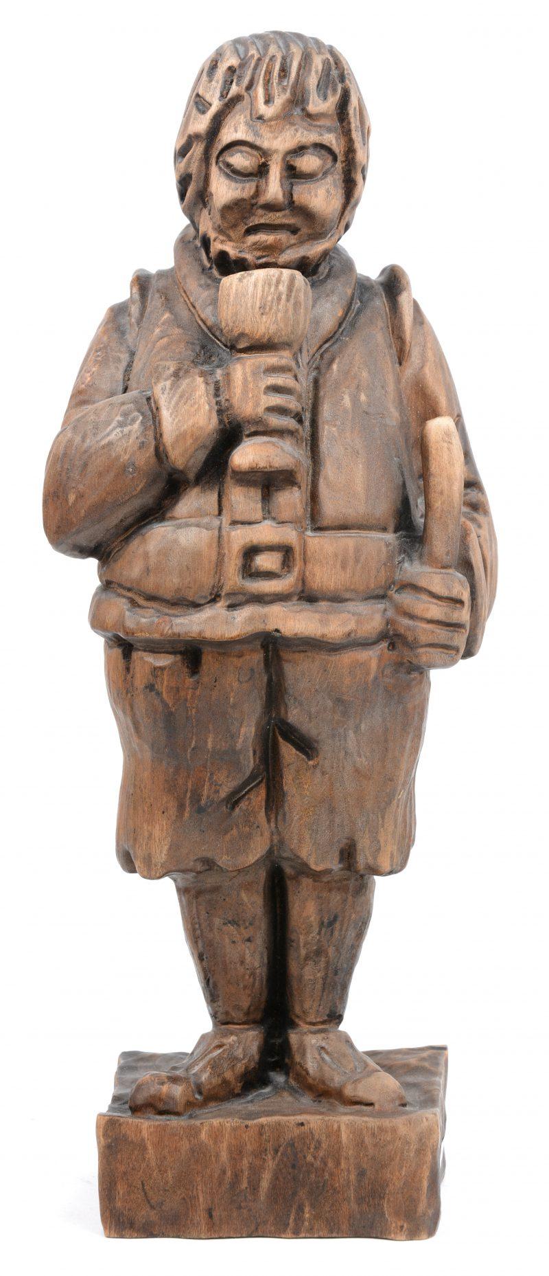 """""""Drinker"""". Een houten beeldje. Spaans werk."""