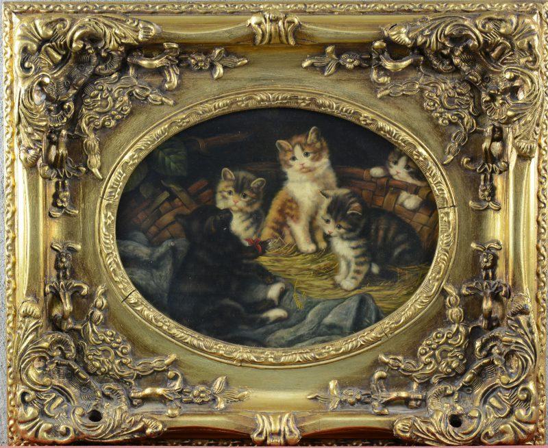 """""""Kittens in een nestje"""". Olieverf op paneel. Gesigneerd onder dekader 'E. Faiet'."""