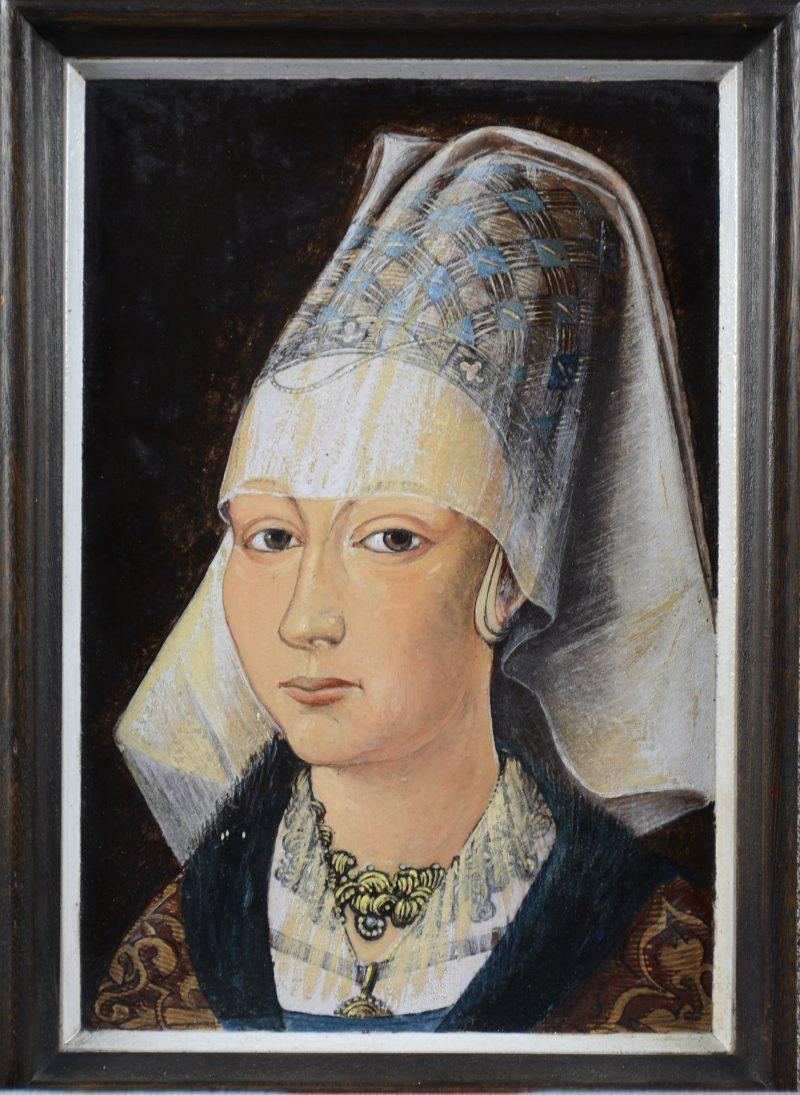 """""""Maria van Bourgondië"""". Een handgeschilderde aardewerken tegel."""