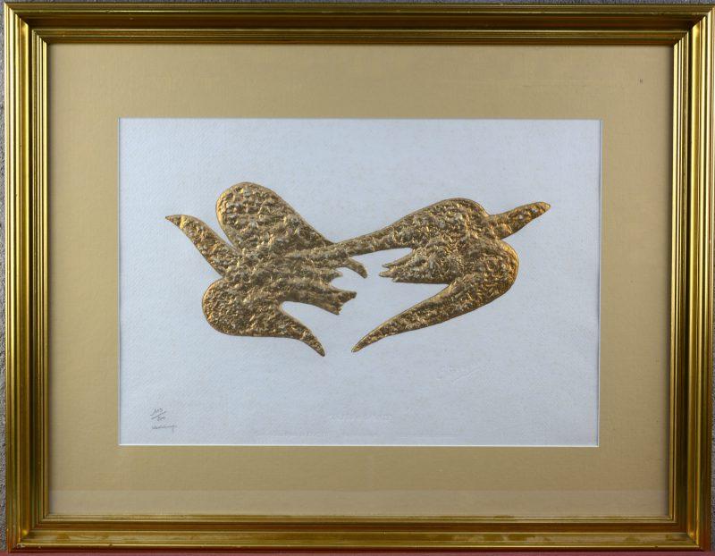 """""""Zétès et Calais"""". Uit de reeks """"Hommage aux Bijoux de Braque"""". Hoogdruk verguld met 23 K fijn goud. Met droogdrukstempel G. Braque. Genummerd 109/200 en gesigneerd buiten de plaat."""