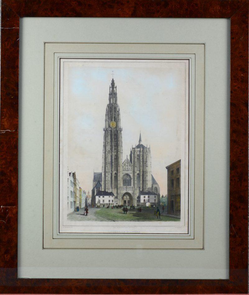 """""""De kathedraal van Antwerpen"""". Een oude lithografie."""