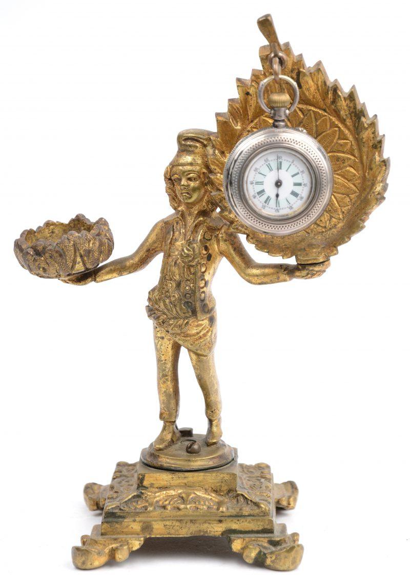 Een vergulde bronzen porte-montre in de vorm van een personage. Met klein zakhorloge.