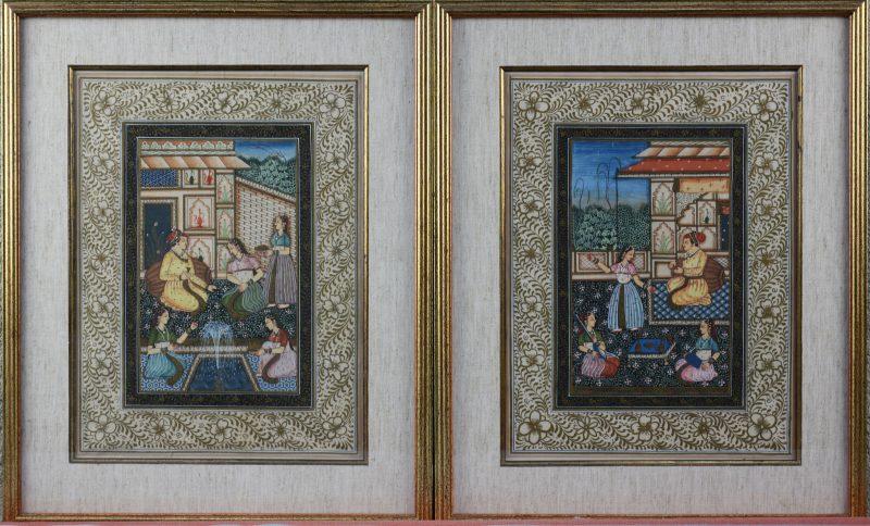 Een paar Moghulschilderijen, gouache op zijde.
