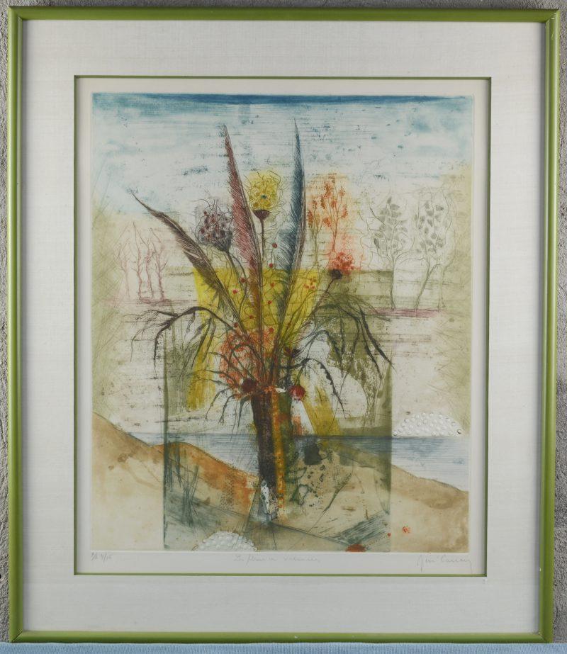 """""""Les fleurs en vacances"""". Een kleurenets. Gesigneerd en genummerd E.A. 4/15 buiten de plaat."""