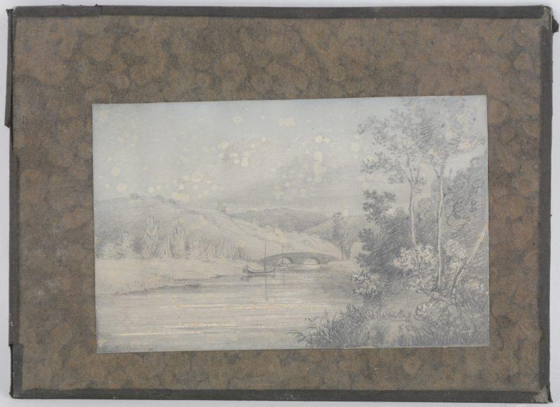 """""""Een sloep en een bruggetje over een rivier"""". Gehoogde houtskooltekening. Gesigneerd."""