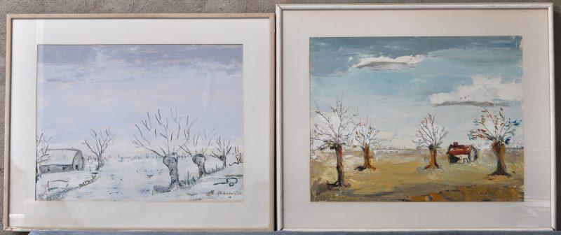 Een lente- en een herfstlandschap. Olieverf op karton. Gesigneerd.
