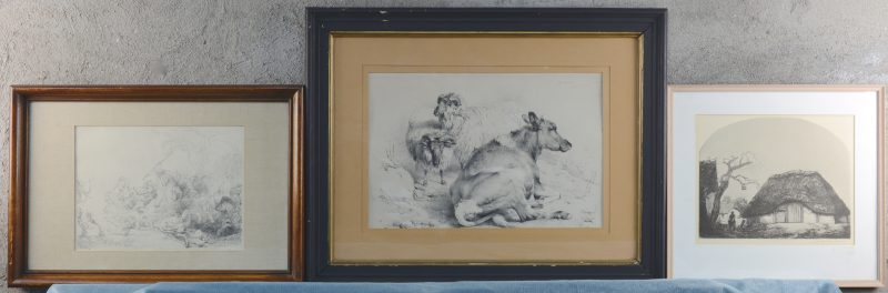 Drie reproducties naar Rembrandt, Baksteen en Cooper.