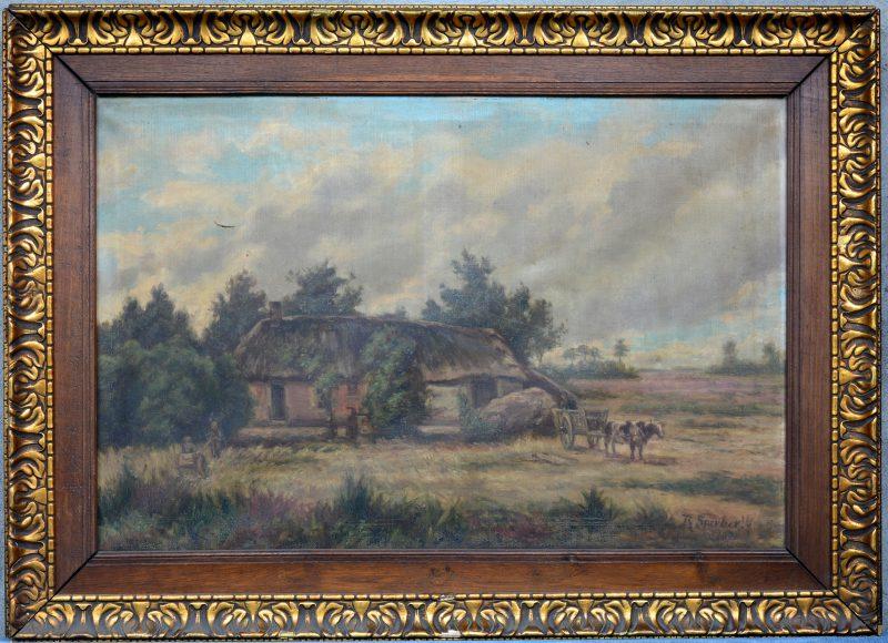 """""""Hooiwagen aan de schuur"""". Olieverf op doek. Gesigneerd en gedateerd 1920(?). Kleine scheur links boven."""