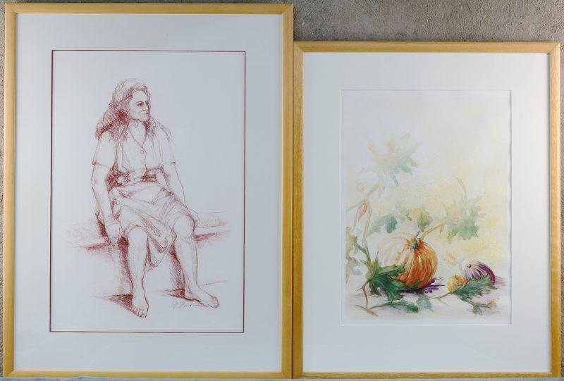 """""""Dame op een bank"""" & """"Groententuin"""". Resp. Sanguine en aquarel op papier. Beide gesigneerd."""