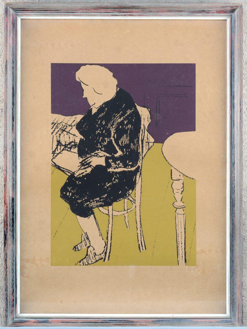 """""""Lezende dame"""". Een lithografie. Gesigneerd buiten de plaat."""