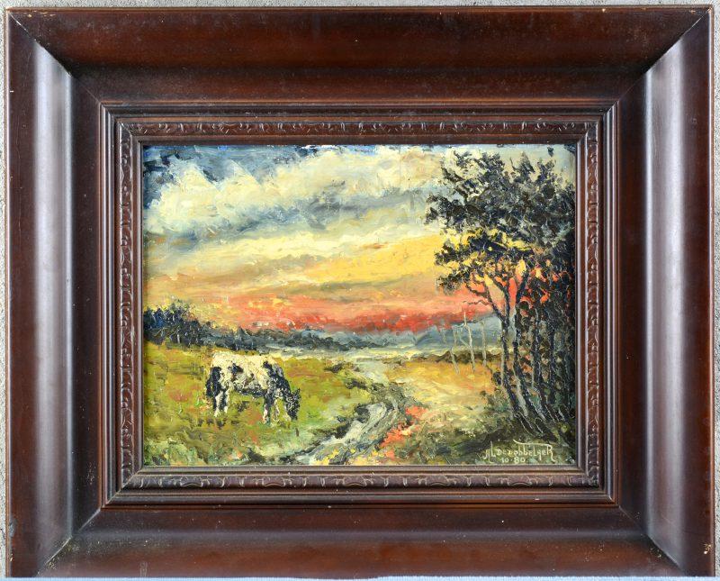 """""""Grazende koe in een landschap"""". Olieverf op doek. Gesigneerd 10-'80."""