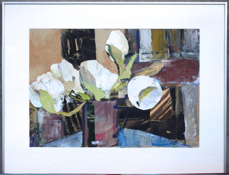 """""""Stilleven met tulpen."""" Collage met papier en olieverf. Gesigneerd en gedateerd 1991."""