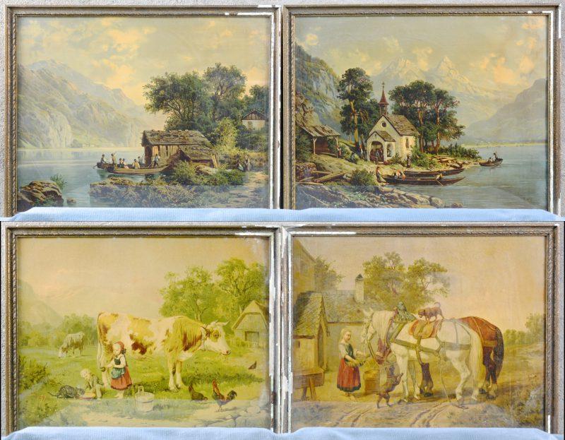 """Een lot van vier XIXde eeuwse reproducties. """"Voederen van het paard."""", """"Kapel aan de oever."""" """"Vee in de weide"""" en """"Bergmeer."""""""