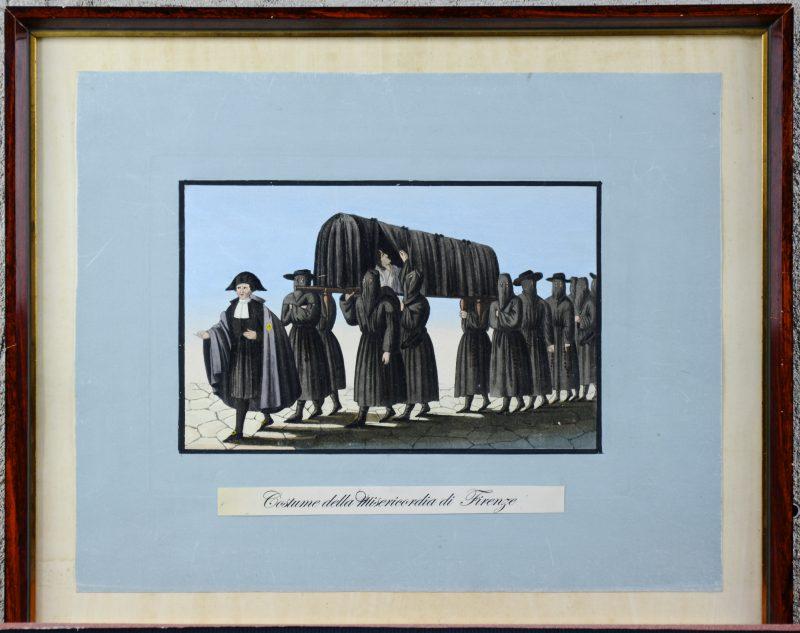 """""""Costume della misericordia di Firenze"""". Een ingekleurde gravure. 1830."""