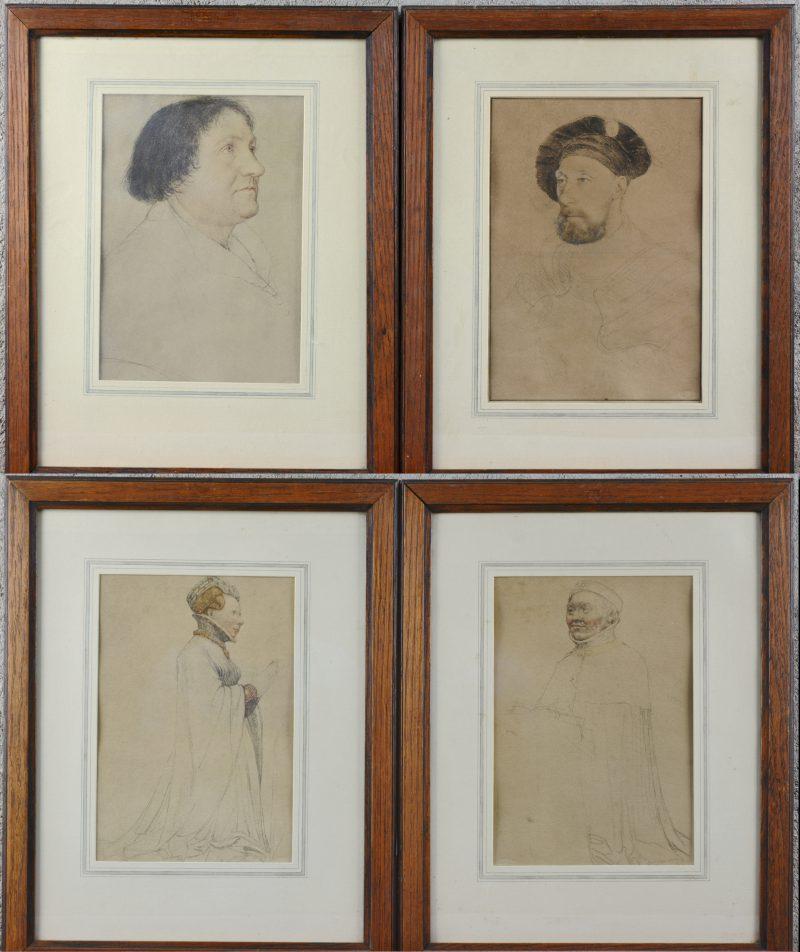 """Vier reproducties van schetsen van 'Bourgondiërs"""" ."""