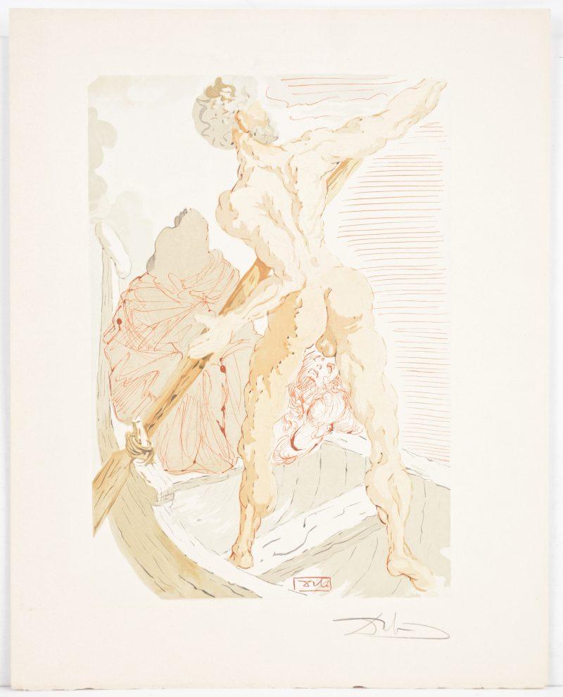 """Een lithografie uit de reeks """"La divine comedie"""". Gesigneerd buiten de plaat."""