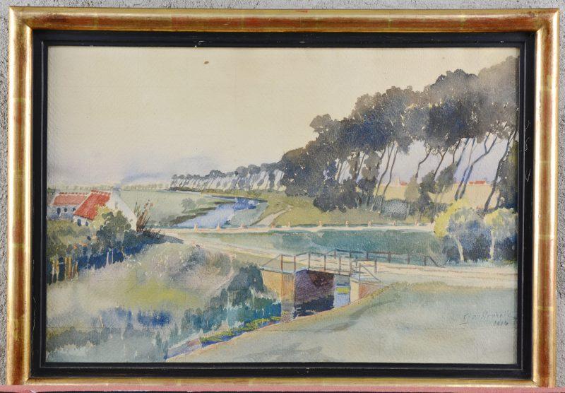"""""""Zicht op een kanaal"""". Aquarel op papier. Gesigneerd en gedateerd 1914."""
