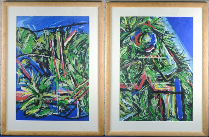 """""""Moderne composities"""". Acryl op papier. Zonder signaturen."""