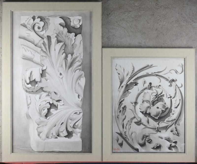 """""""Acanthusbladeren"""". Twee grisailleschilderingen op papier. Gesigneerd."""