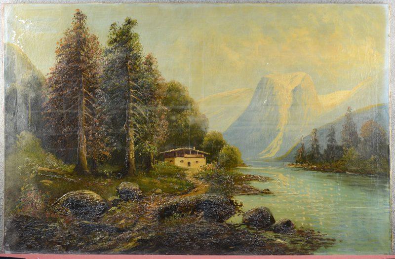 """""""Berglandschap"""". Olieverf op doek."""