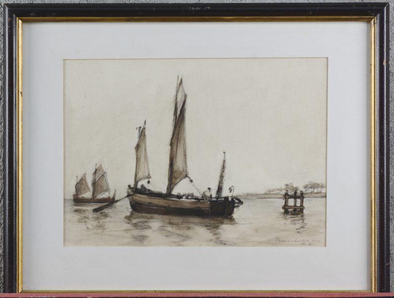 """""""Panneschuiten"""". Aquarel en inkt op papier. Gemonogrammeerd en gedateerd 1910."""