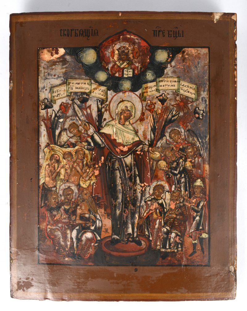 Een Russische icoon met de aanbidding van Maria. XIXde eeuw.